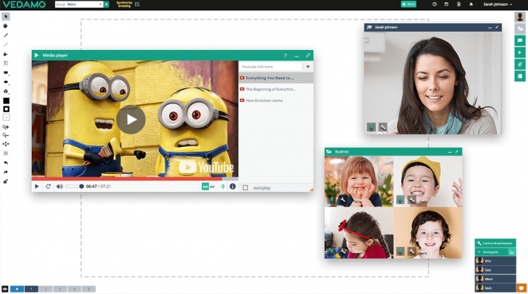 A screenshot of web-conferencing platform in the context of how to implement different virtual classroom ice-breaking games