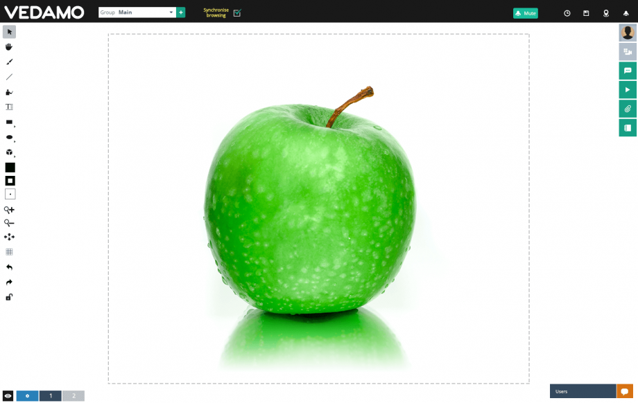 VEDAMO Virtual Classroom interface with an apple