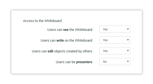 Choose whether the user's whiteboard permissions are on or off according to the virtual classroom settings
