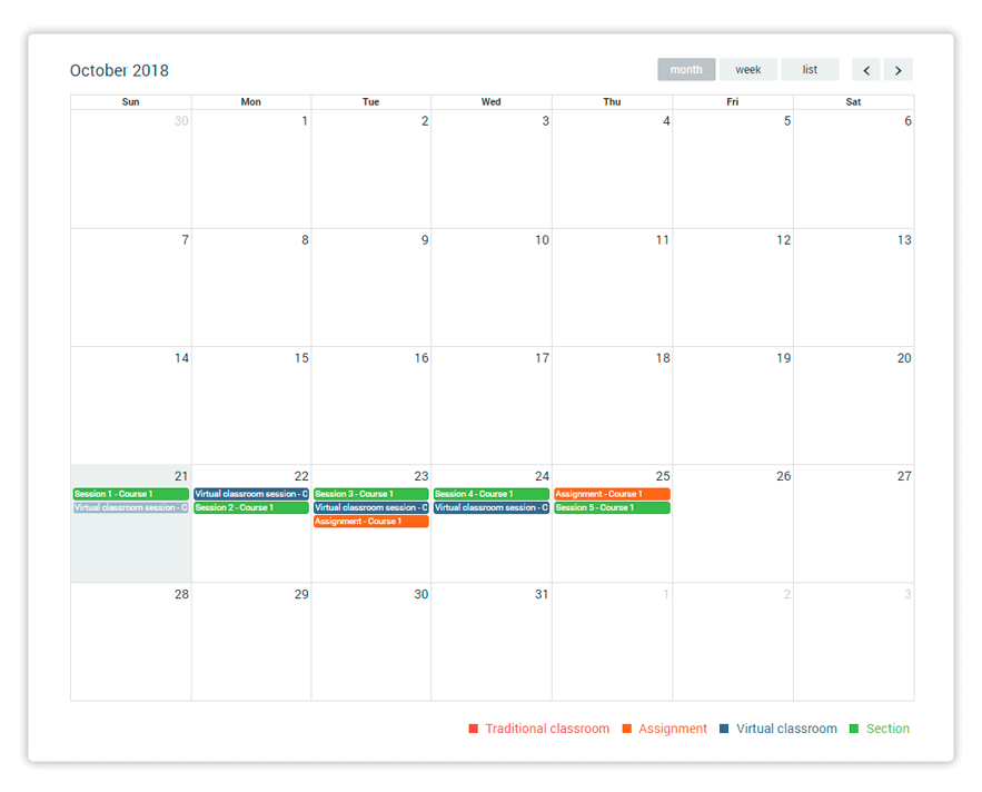 The Calendar is the most integral part of your LMS Dashboard
