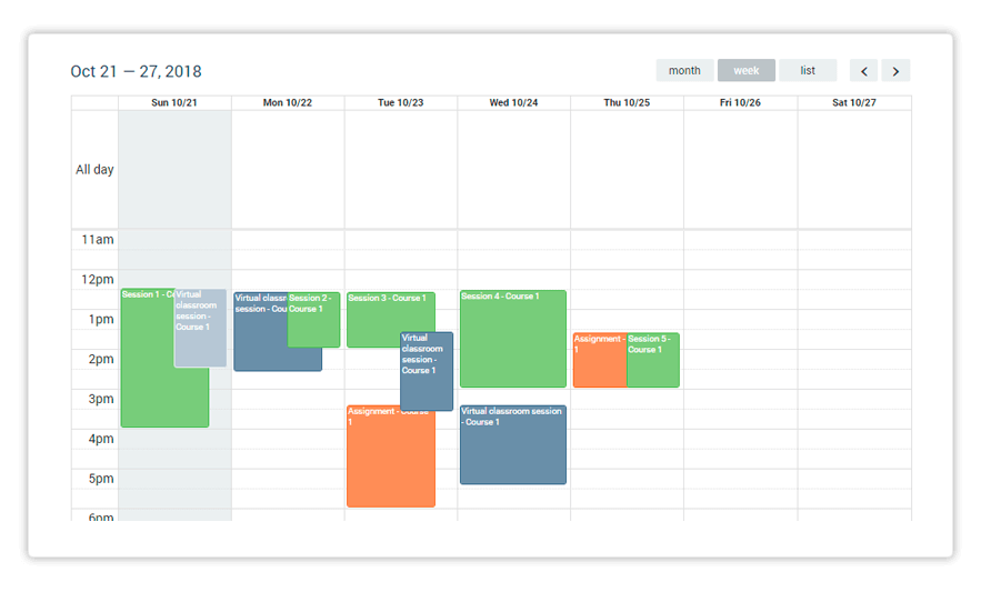 Weekly Calendar view of upcoming events