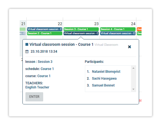 You can enter a Virtual Session directly from your LMS Dashboard