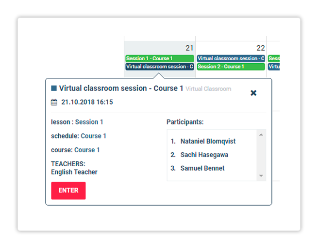 Press the Enter button tp access the online session