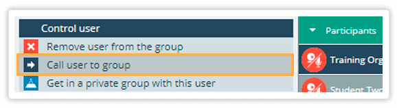 Call user to group functionality will automatically add students to the same group as yours