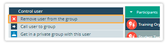 You can remove a user from the group you are currently n