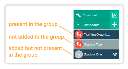 Participants menu in the virtual classroom