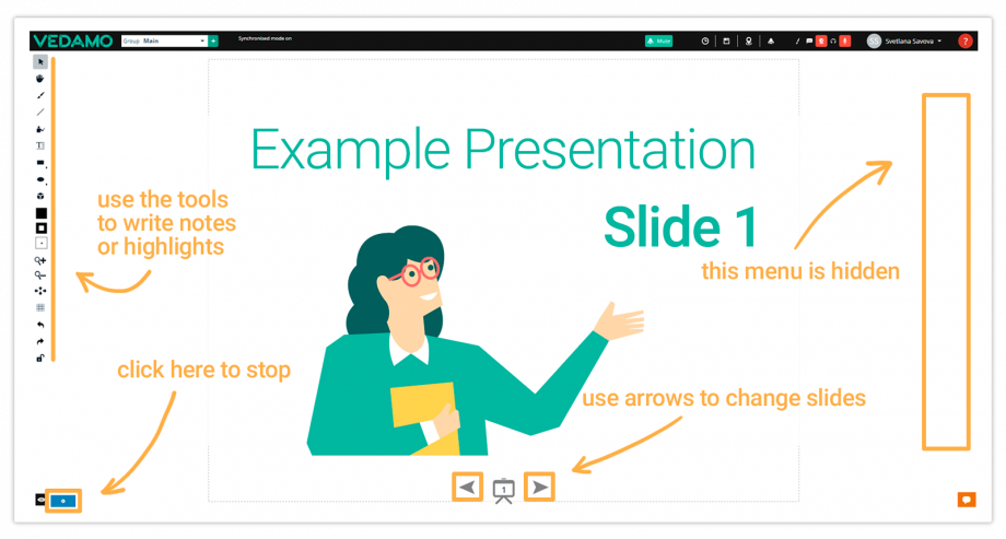 How the Virtual Classroom looks in Presentation mode
