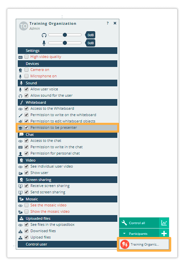 This is how the User Permissions Panel looks like