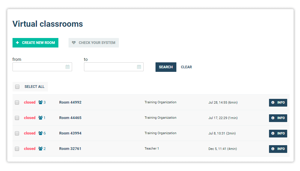 The Virtual Classroom menu will open a list of past and on-going Virtual rooms