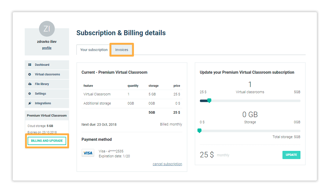 virtual classroom subscription: The Invoices tab contains a list of all of your past Invoices