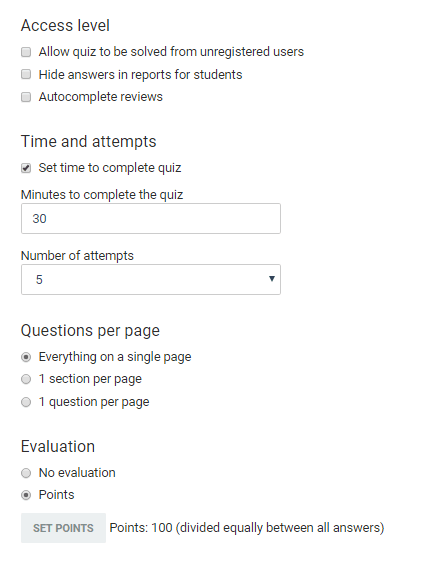 Adjusting the quiz's settings