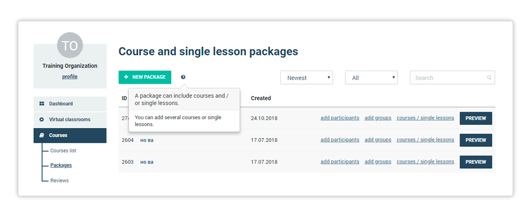 An image of course and single lesson packages