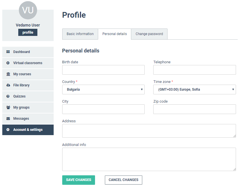 admin dashboard screenshot of Vedamo