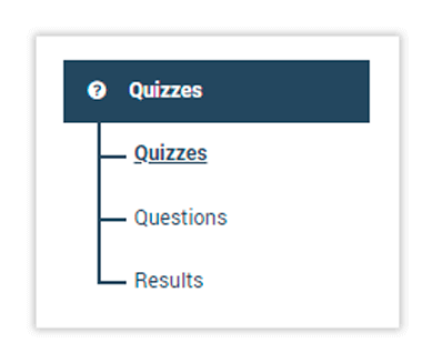 To create LMS Quizzes click on the Quizzes menu
