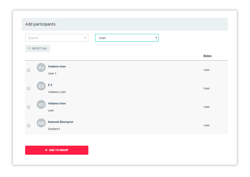 Add participants to a group after you have selected them