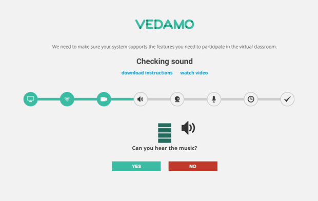 Vedamo system check screen