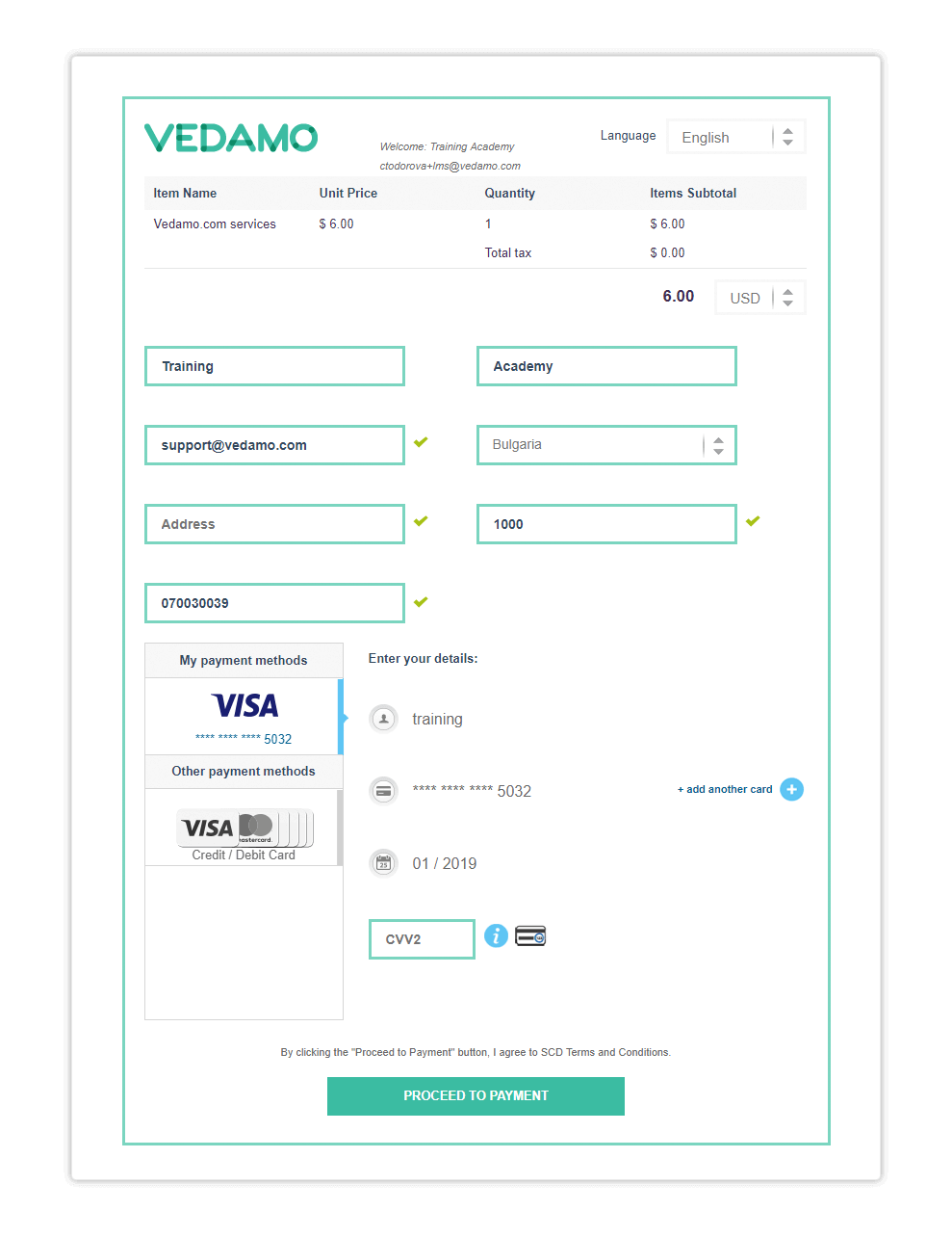 Once ready, click on Proceed to payment to finish your payment