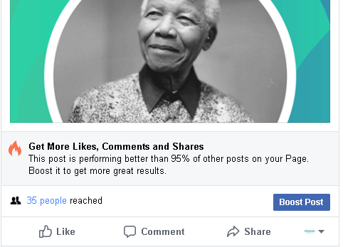 Facebook post with Nelson Mandela