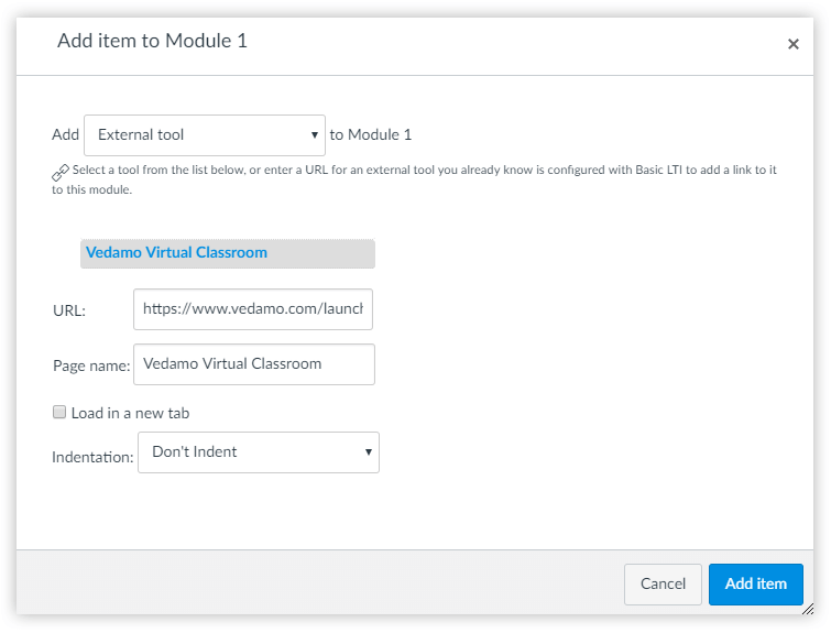 Add item to Module in Canvas allows you to add an External tool to Canvas LMS