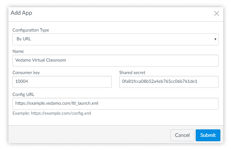 Add Vedamo's Virtual Classoom as a global application within Canvas
