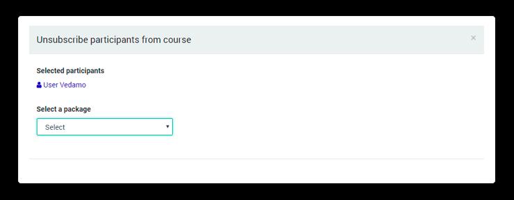 Select a course to remove participant