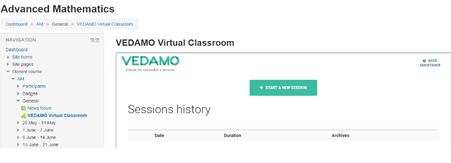 Vedamo Virtual Classroom Moodle: The process of starting a new session as a Teacher in Moodle