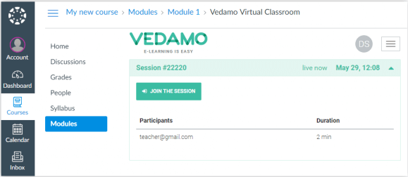 """Click """"Join the session"""" to join your lesson to join Virtual Classroom as a Student in Canvas"""