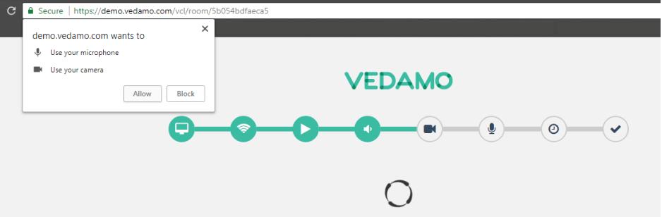 Virtual classroom Moodle plugin: VEDAMO System Check process