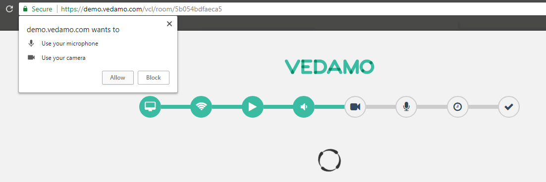 Moodle virtual classroom plugin: VEDAMO System check