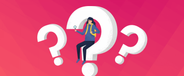 Image of a person around question marks