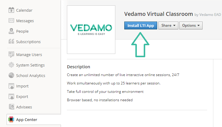 schoology virtual classroom plugin: Install VEDAMO Virtual classroom