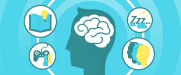 An image representing brain power combine with different images in the context of teaching grammar in a virtual classroom