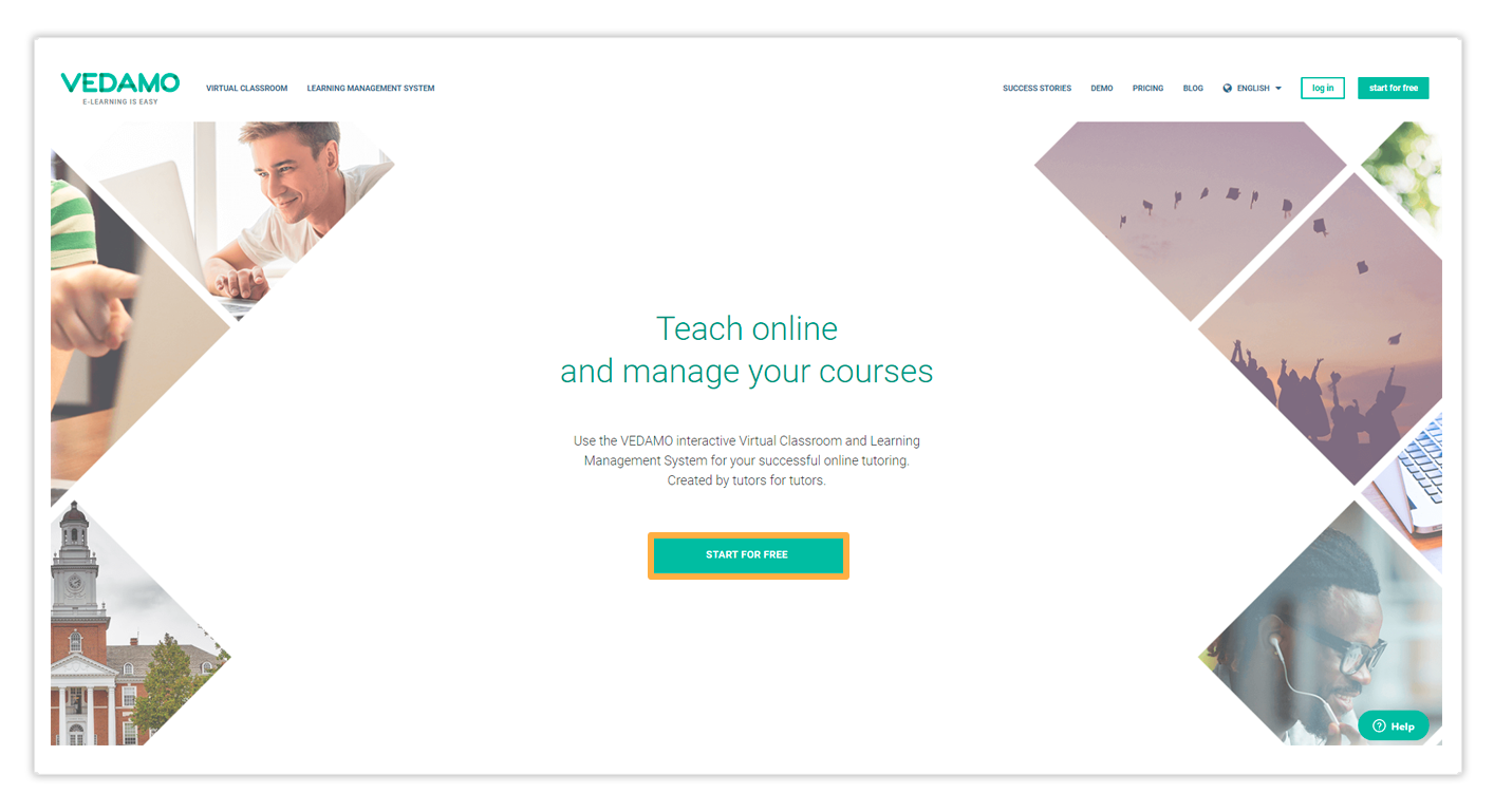 Subscribe for the Vedamo Virtual Classroom via the Start for free button