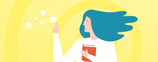 An image of a woman with a book and stars in the context of how to engage generationn Z In The Virtual Classroom