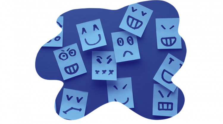 An image of sticky notes with faces in the context of the visualization techniques in the virtual classroom