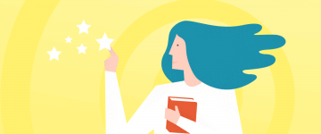 An image of a woman with a book and stars in the contex of online tutoring gen Z