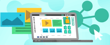 An image of laptop and virtual classroom in the context of an online school