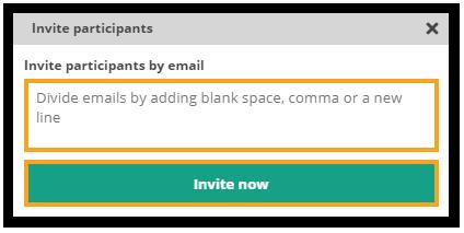 How do I invite participants to the virtual classroom? Invite participants box