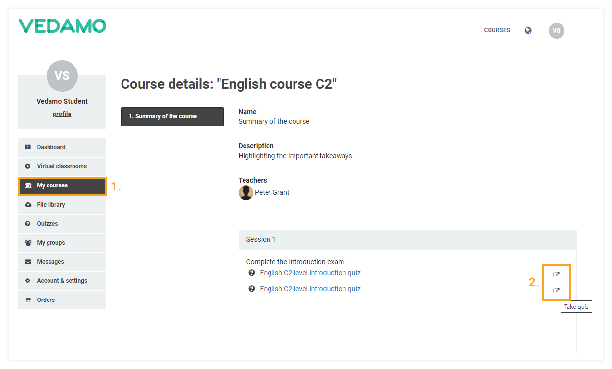 How to create and assign a quiz in the Vedamo LMS: participants view and take quiz option