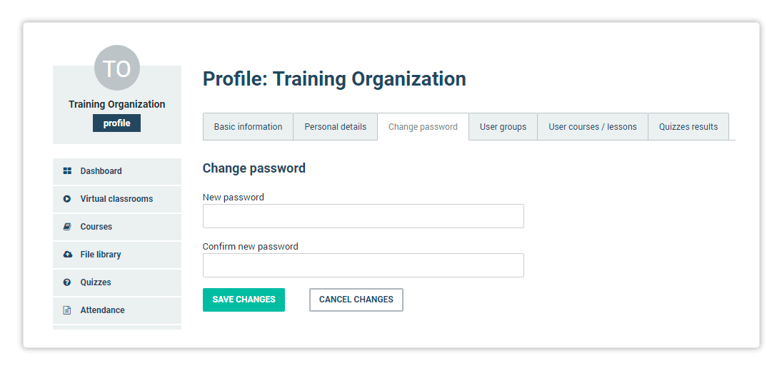 Change your Vedamo password in the Change Password tab located in the LMS account and settings page