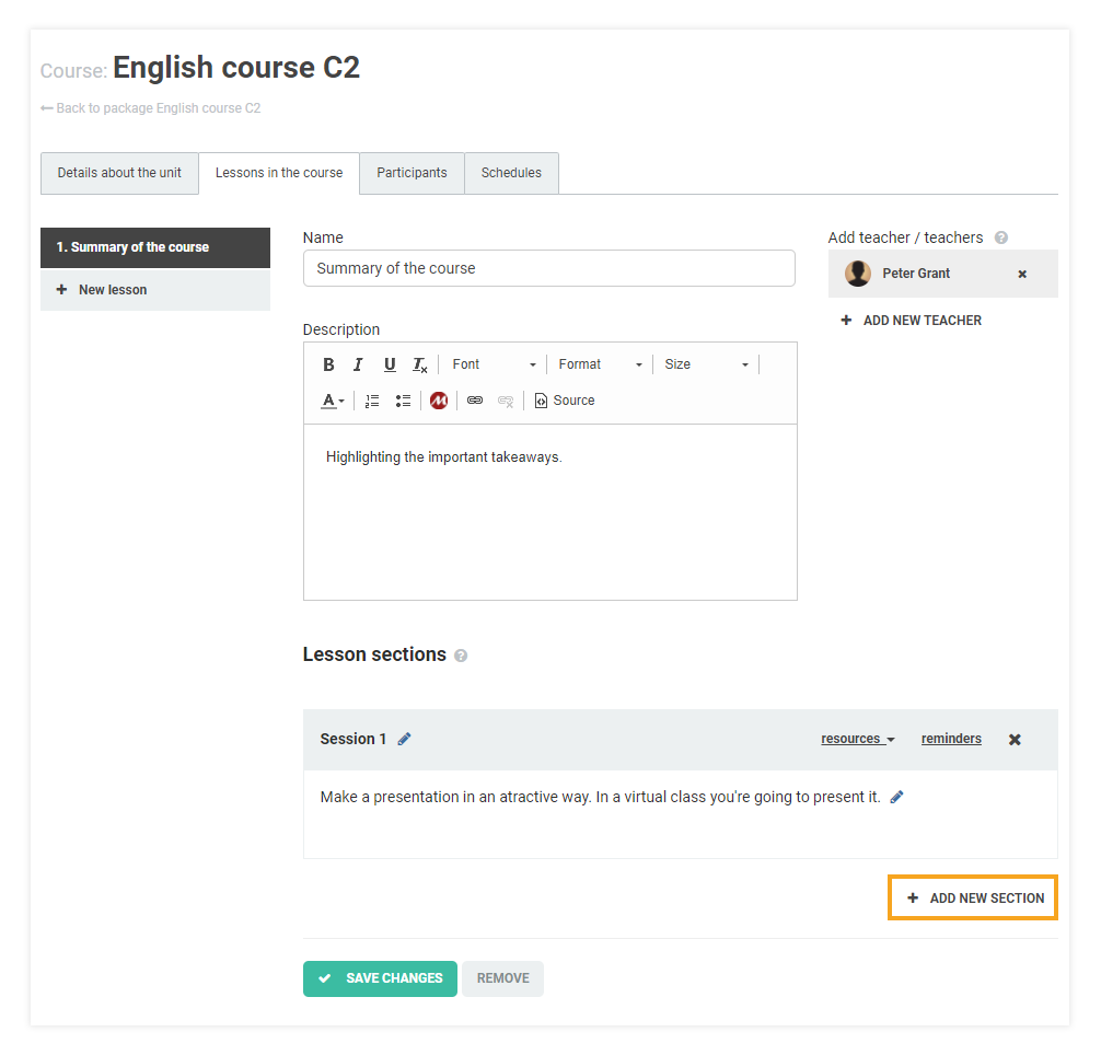 How do I attach learning materials to my LMS course: add new section