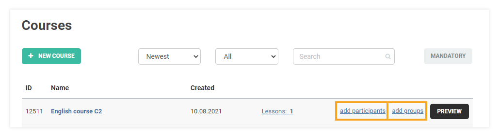 How do I add participants to my course: Add participants to a course button