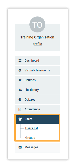 Go to the Users menu to add participants in your LMS course