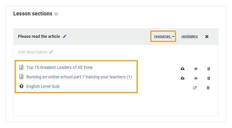 How do I attach learning materials to my LMS course: adding a quiz as a resource