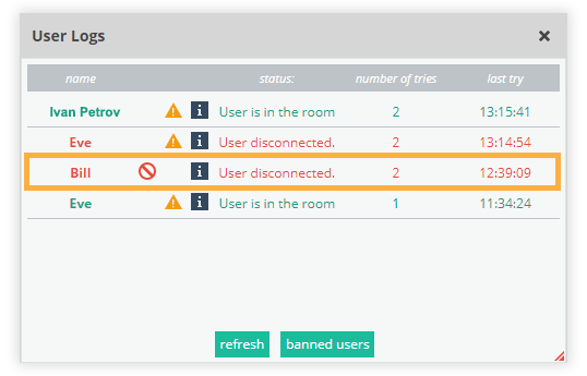Banned students will be visible in the User Logs