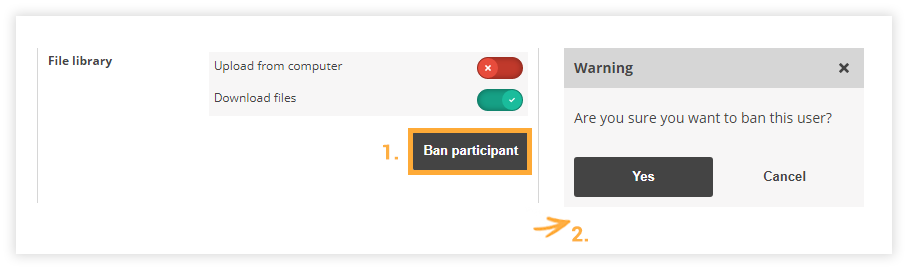 Participant Controls in the Virtual Classroom: Ban participant
