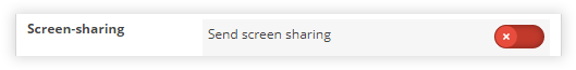 "Clicking ""Send screen sharing '"" will stop the screen share as the slider turns red"