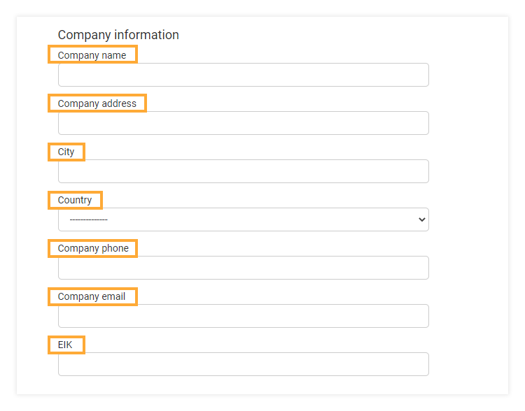 Account and Settings - General Information: You can upload your company's details.