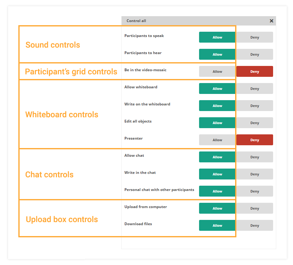 Participant Controls in the Virtual Classroom: The controls could be divided into different subgroups based on their function