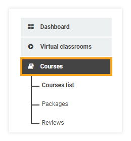 How do I add participants to my course: Courses list menu